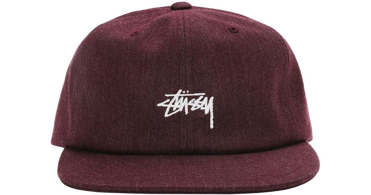 abb5010ad1e Stussy Melange Denim Strapback Cap in Purple for Men - Lyst