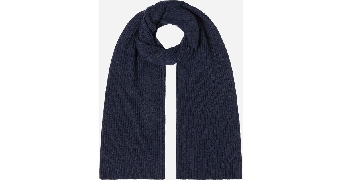 2d28273027b N.Peal Cashmere Short Ribbed Cashmere Scarf in Blue - Lyst