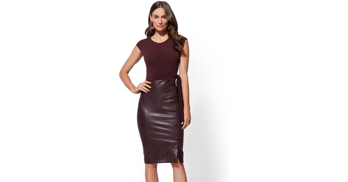 d29d61443ee3 New York & Company 7th Avenue - Faux-leather Sheath Dress in Purple - Lyst