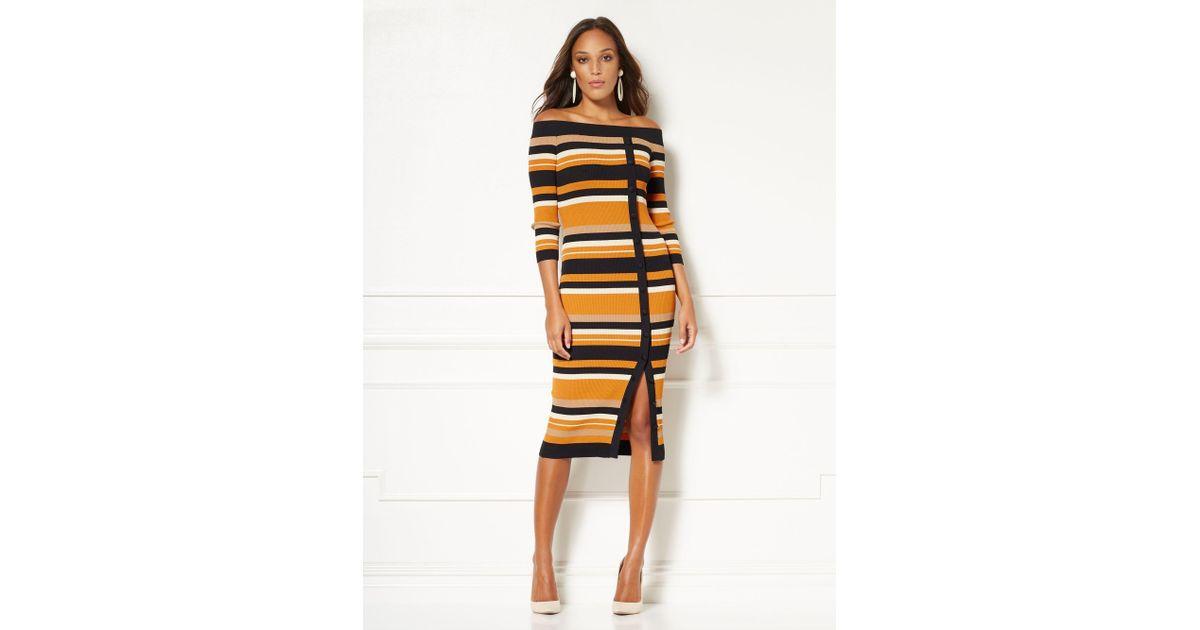 fce97038e7 Lyst - New York   Company Eva Mendes Collection - Daveena Stripe Sweater  Dress in Orange