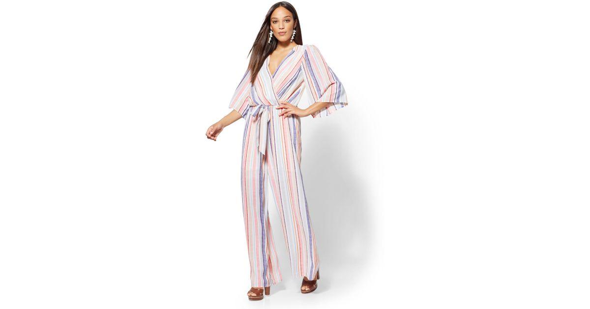 Lyst New York Company Multicolor Stripe Wrap Jumpsuit In White