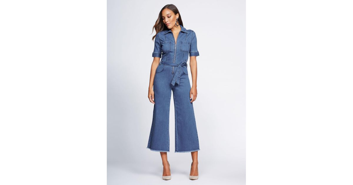 55b25d0ee74d Lyst - New York   Company Gabrielle Union Collection - Tall Denim Jumpsuit  in Blue