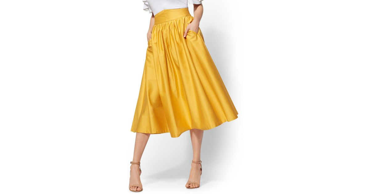 b2b44551fa New York & Company 7th Avenue - Yellow Full Skirt in Yellow - Lyst