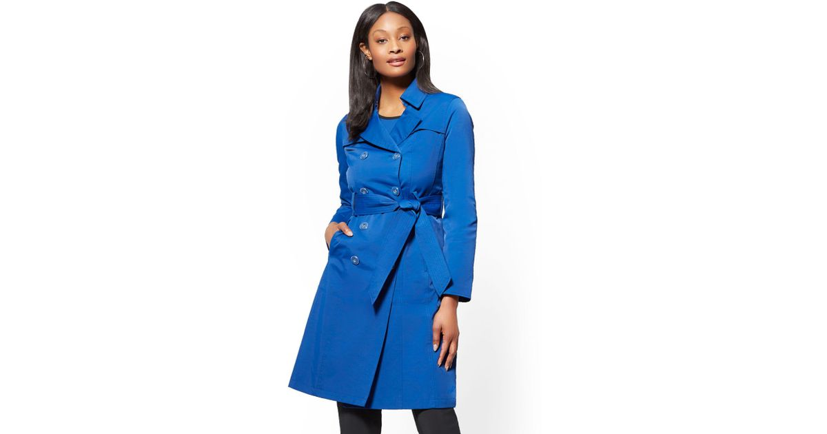 2772682857 New York   Company 7th Avenue - Belted Trench Coat in Blue - Lyst