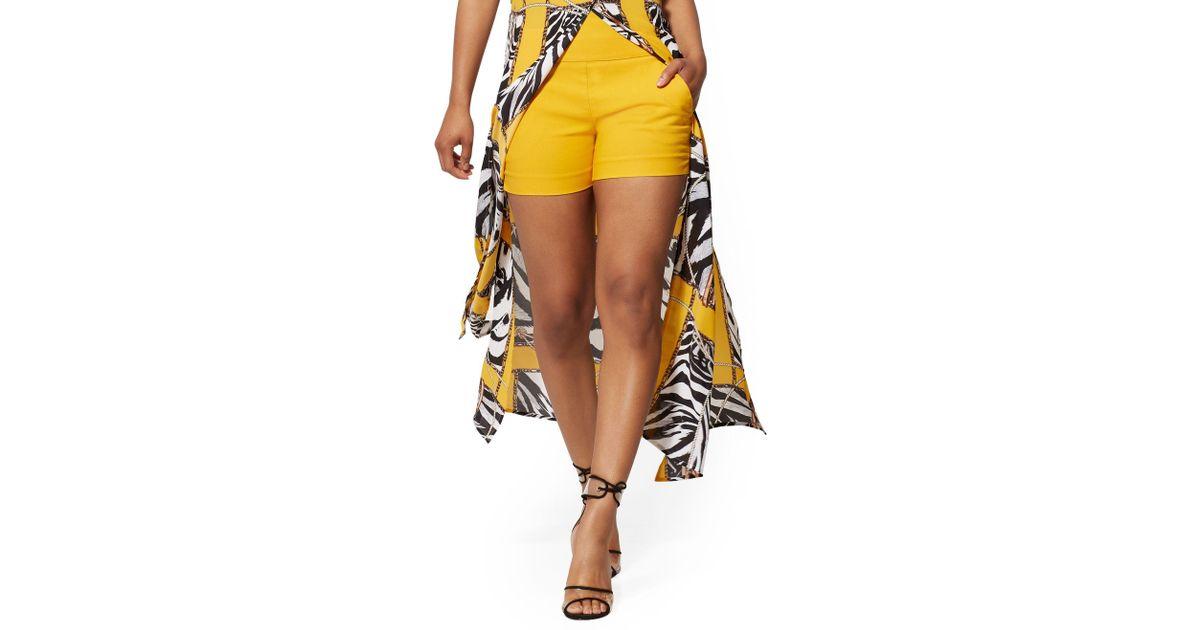 51713e8494 New York & Company Whitney High-waist Pull On 4 Inch Short in Orange - Lyst