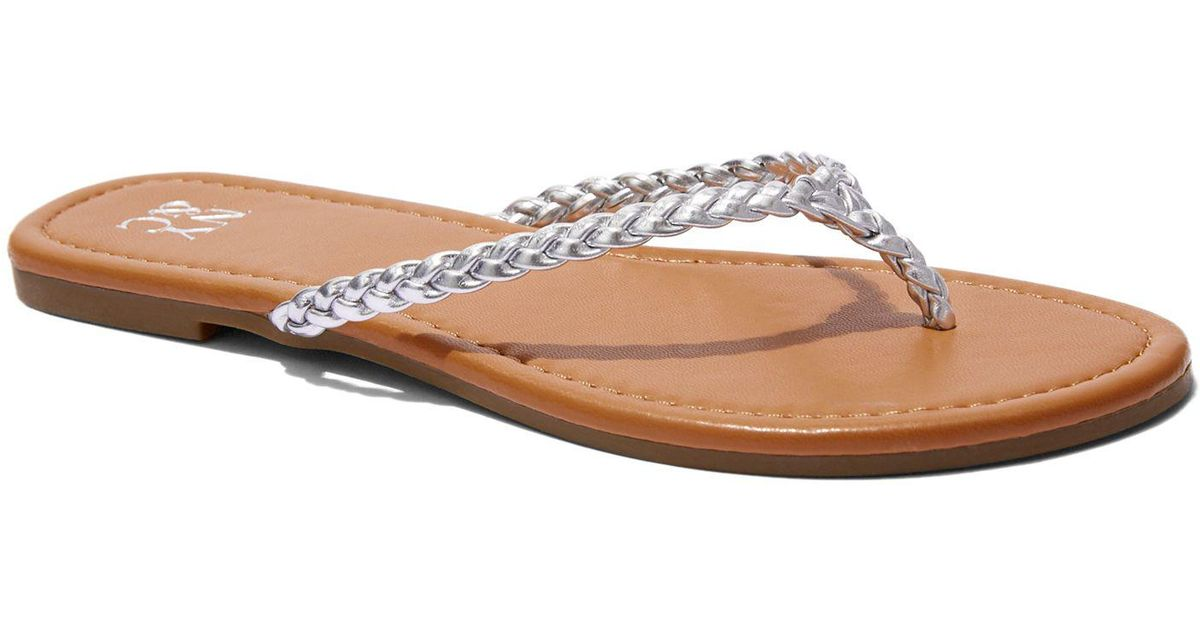 de4641f21 Lyst - New York   Company Braided Flip-flop Sandal in Metallic