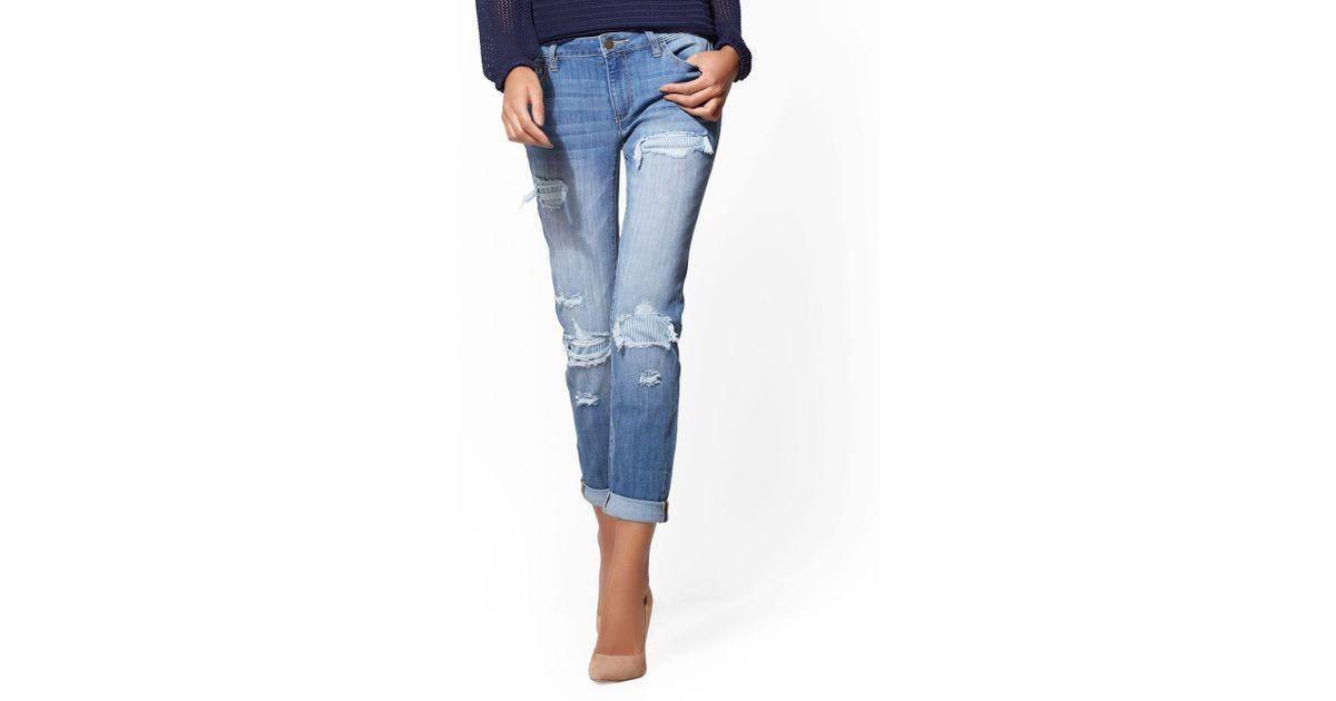 fe102e76c68f Lyst - New York   Company Soho Jeans - Rip   Repair Curvy Boyfriend - Blue  Chaos Wash in Blue