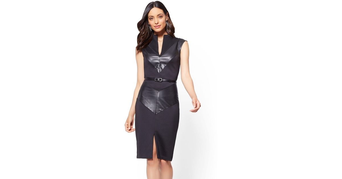 cc49d9694c Lyst - New York   Company 7th Avenue - Faux-leather Chevron Sheath Dress -  Black in Black