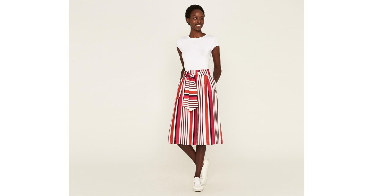 eaece3b7a342 Oasis Multi Colour Clash Stripe Midi Skirt in Red - Save 33% - Lyst