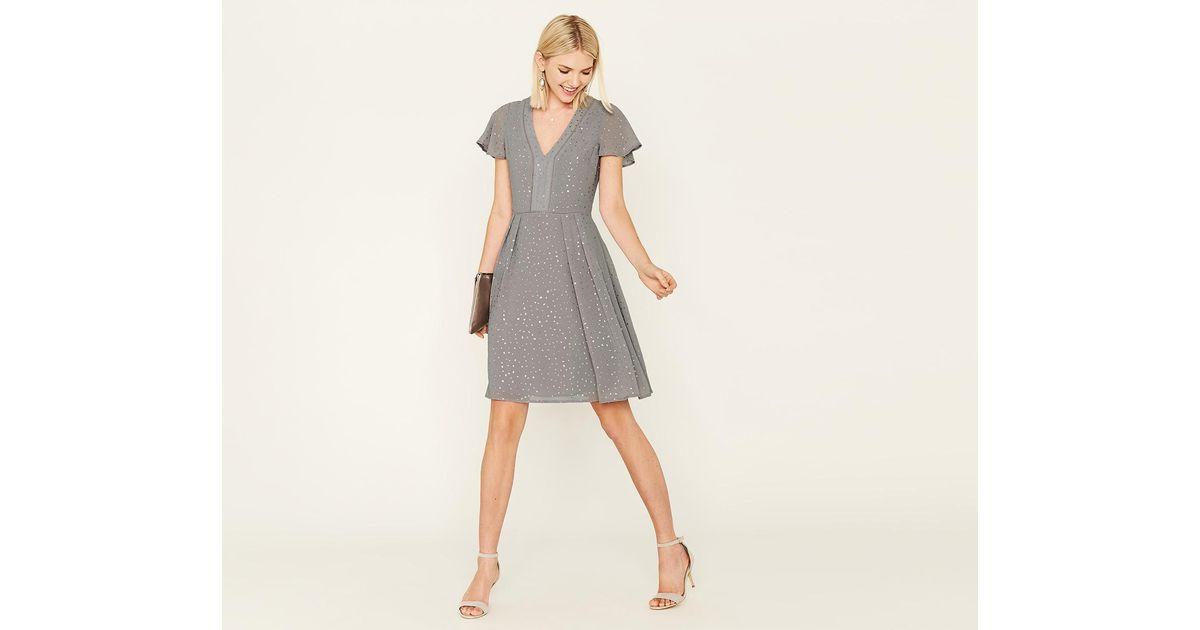 2c0dc18a Oasis Long Glitter Spot Dress in Gray - Lyst