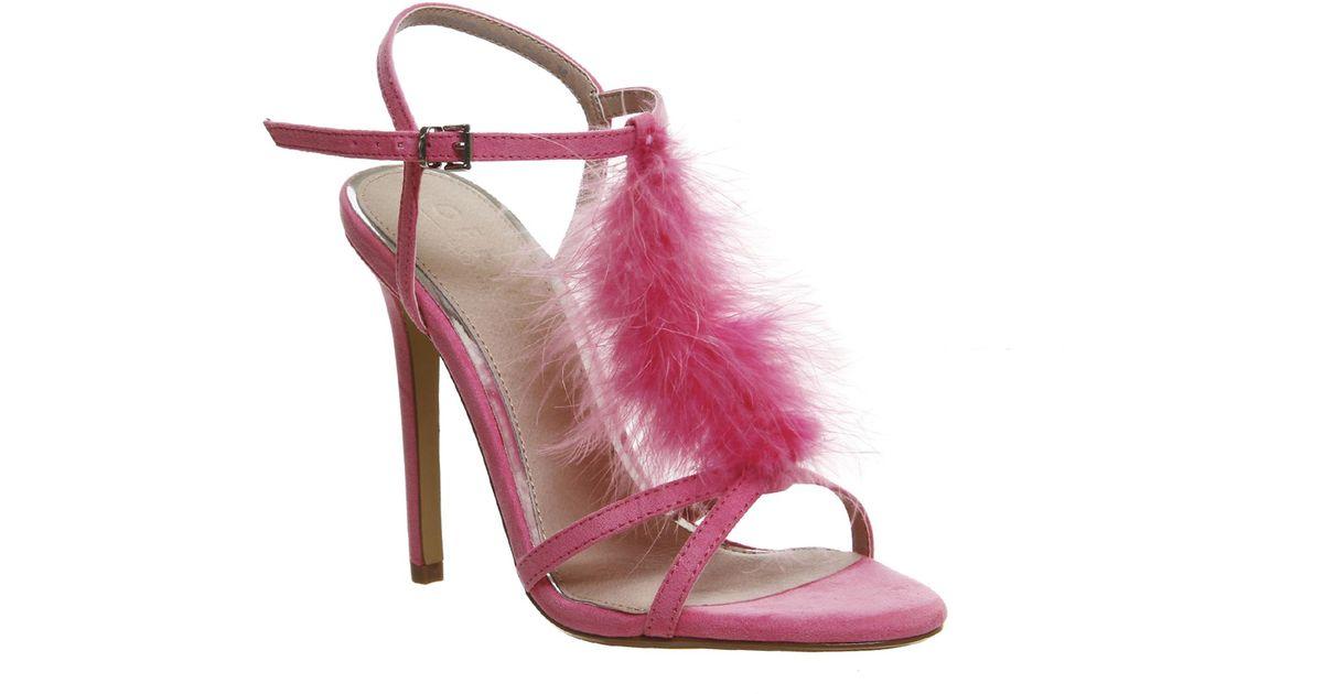 office arabella feather trim heels in pink lyst