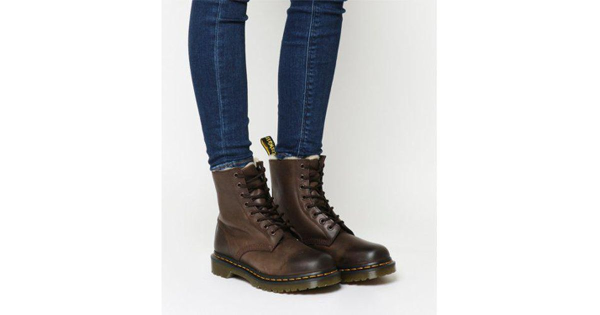 Office Dr. Martens Serena 8 Eyelet Shearling Boot LEATHER Store For Sale PWdY5GD