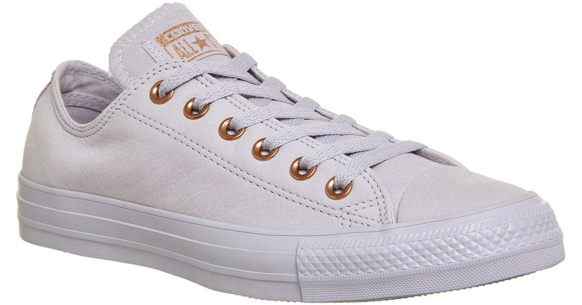 Converse All Star Low Leather in Purple - Lyst b095c7e03006