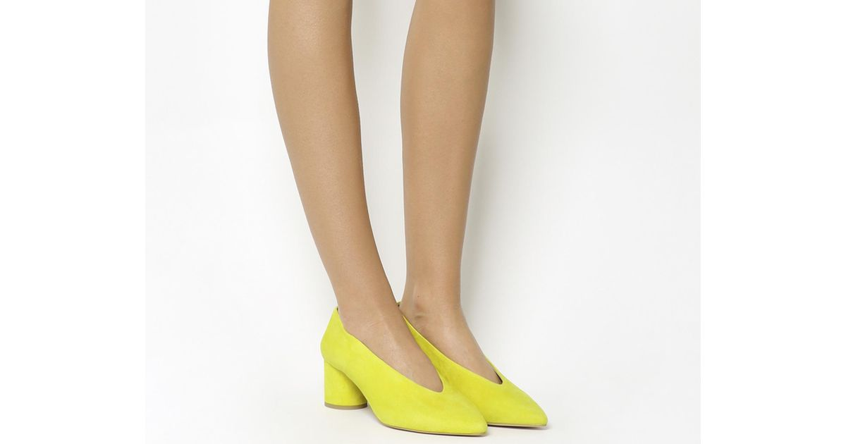 44c677fa0a5 Lyst - Office Majesty Cylindrical Block Heel Point Court in Yellow - Save  54%