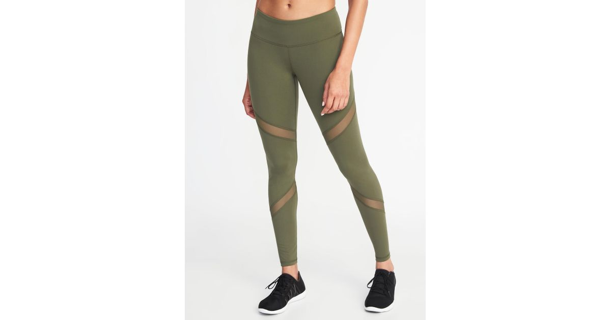 9bde9d59cb Lyst - Old Navy Mid-rise Mesh-panel Compression Leggings in Green