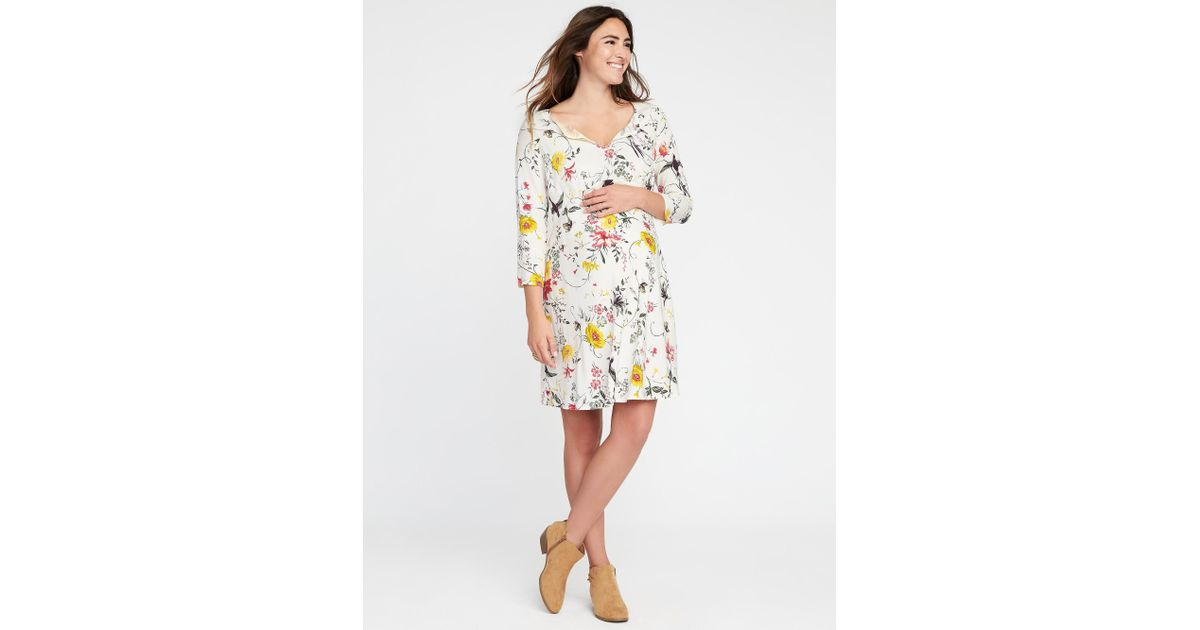 f91c82872 Lyst - Old Navy Maternity Floral-print Swing Dress in White