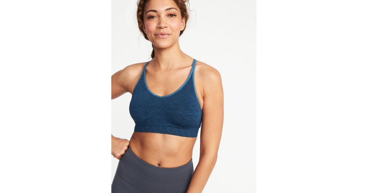 4f0207643ab57 Lyst - Old Navy Seamless Light Support Sports Bra in Blue