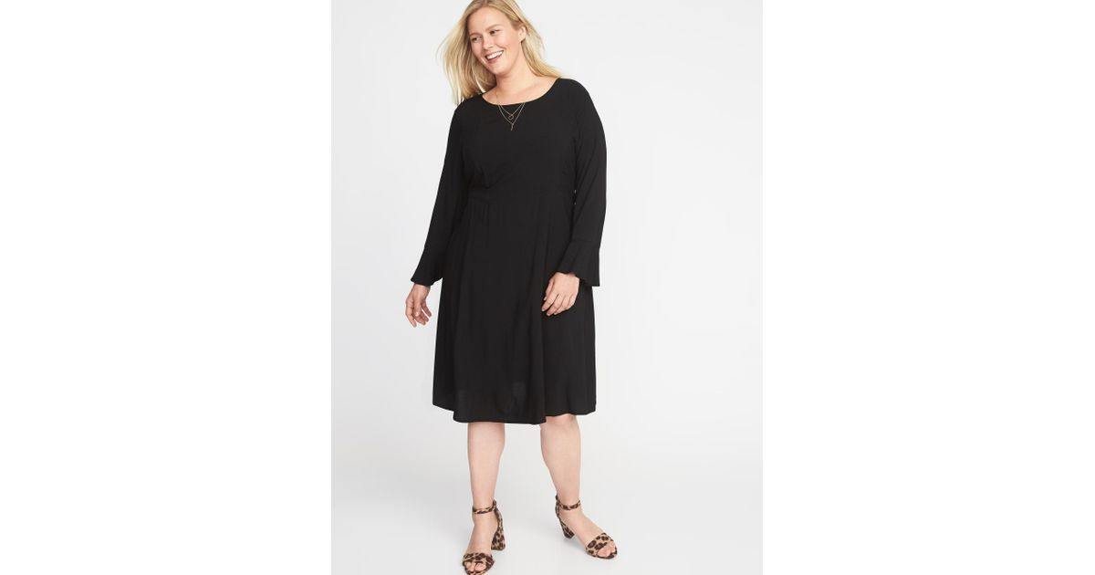 9a33de9a358 Lyst - Old Navy Fit   Flare Flute-sleeve Plus-size Dress in Black