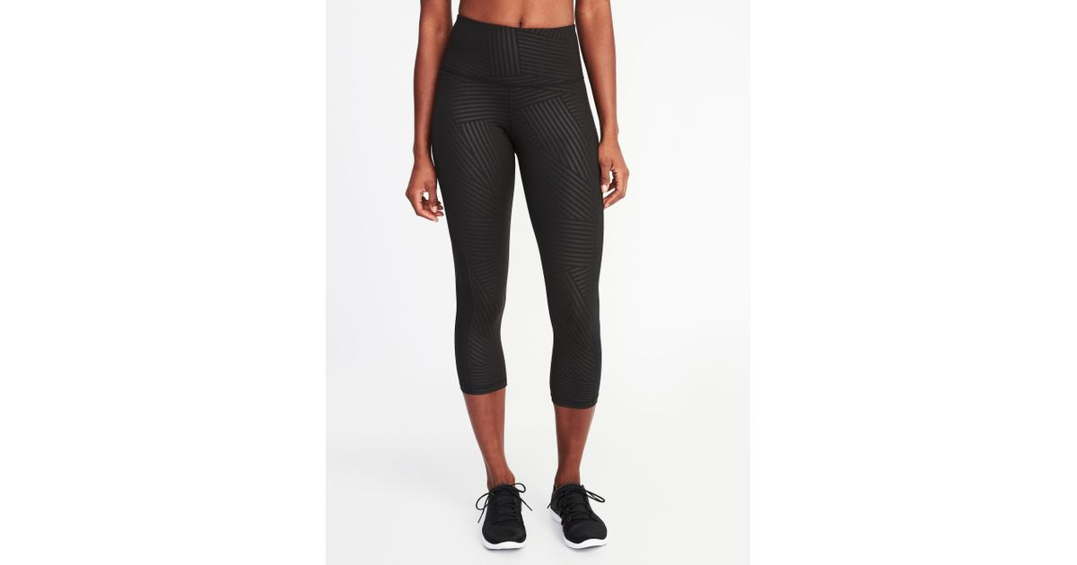 d3de215e541c93 Lyst - Old Navy High-rise Elevate Side-mesh Compression Crops in Black