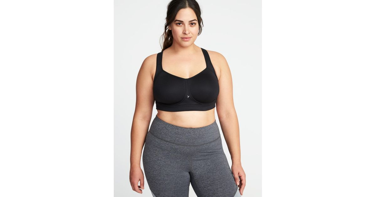 335100c7753 Lyst - Old Navy High-support Plus-size Mesh-racerback Sports Bra in Black