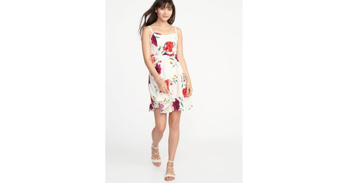 054c11779cb Lyst - Old Navy Floral Fit   Flare Cami Dress in White