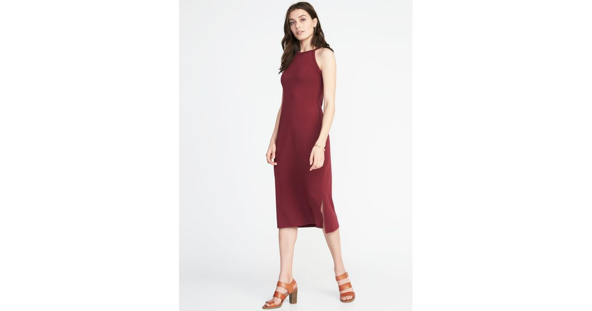 4cf47da1f0ad5 Lyst - Old Navy Sleeveless High-neck Midi Dress in Red