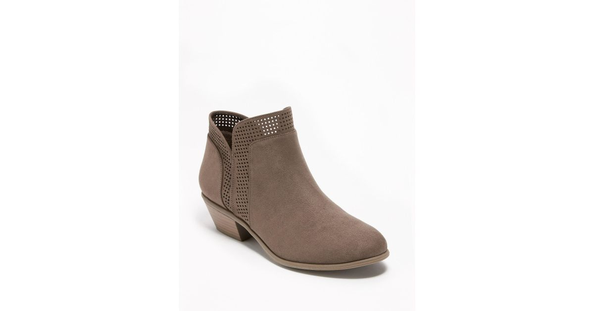 amazon professional website new cheap Old Navy Brown Perforated Faux-suede Ankle Boots