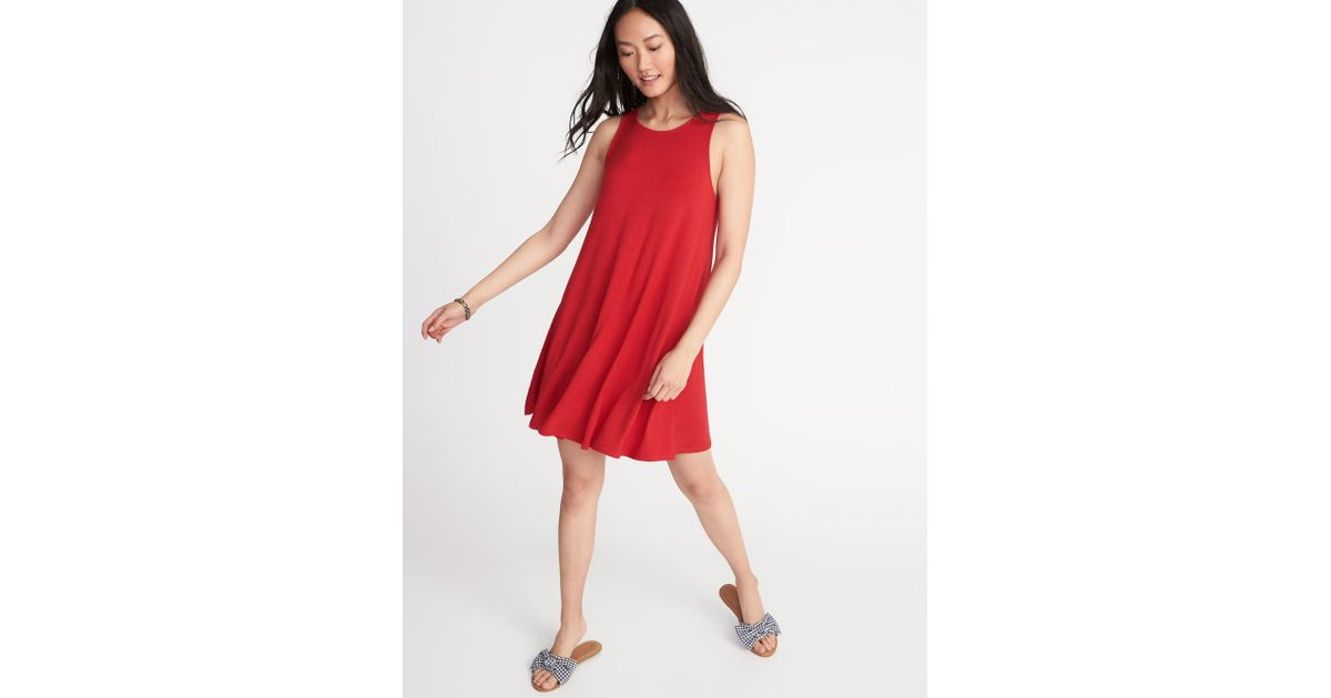 8af183eef6ec Old Navy Jersey-knit Sleeveless Swing Dress in Red - Lyst