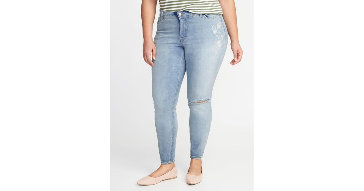 ab42af3cdd91 Lyst - Old Navy High-rise Secret-slim Pockets Plus-size Super Skinny  Rockstar Jeans in Blue