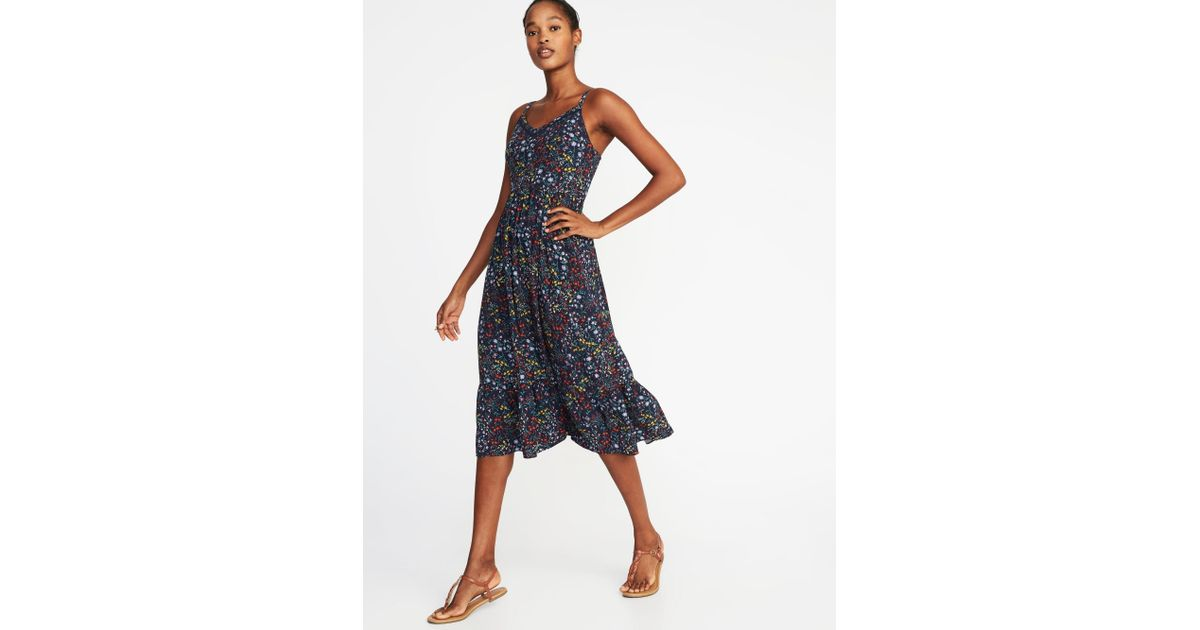58e5a3ad971e Lyst - Old Navy Fit   Flare Cami Midi Dress in Blue