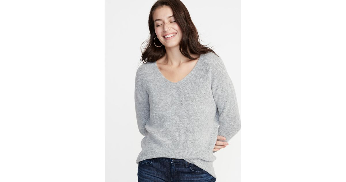 92efd7f491a Lyst - Old Navy Cozy V-neck Sweater in Gray