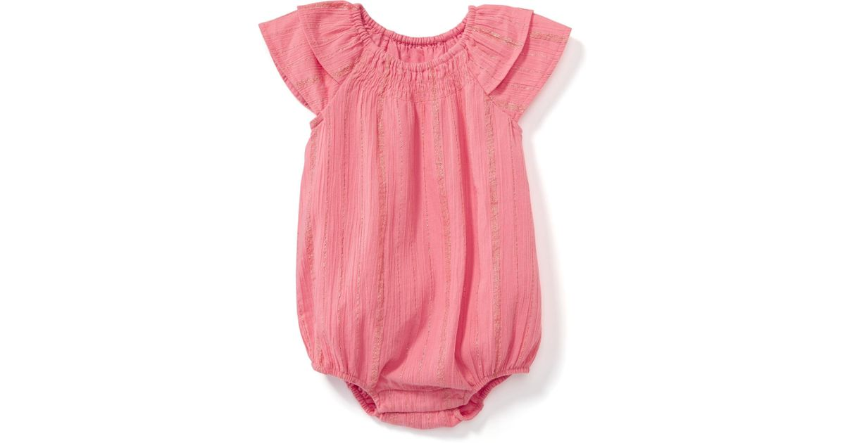 ef465d423357 Lyst - Old Navy Sparkle Striped Bubble Romper in Pink