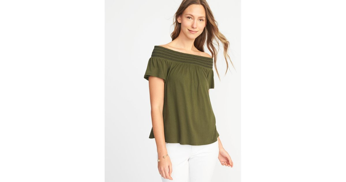 b092b57d0 Lyst - Old Navy Relaxed Off-the-shoulder Top in Green