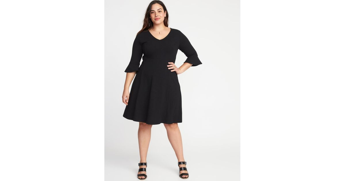 Old Navy V-neck Flute-sleeve Fit & Flare Plus-size Dress in Black - Lyst