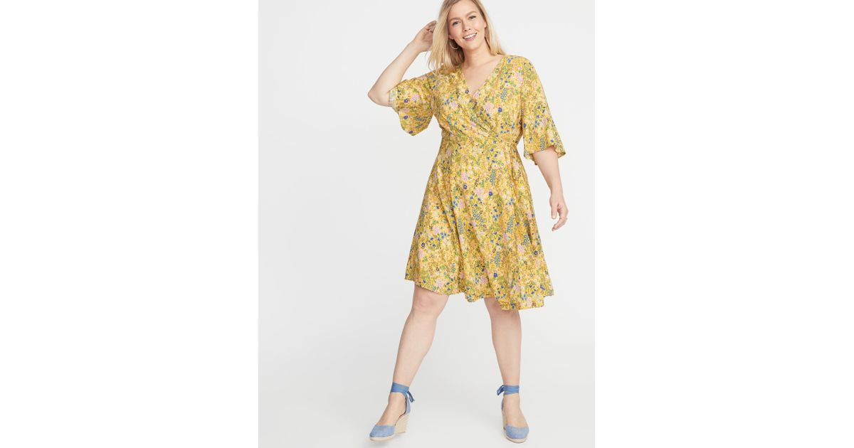 Old Navy Waist-defined Faux-wrap Plus-size Dress in Yellow - Lyst