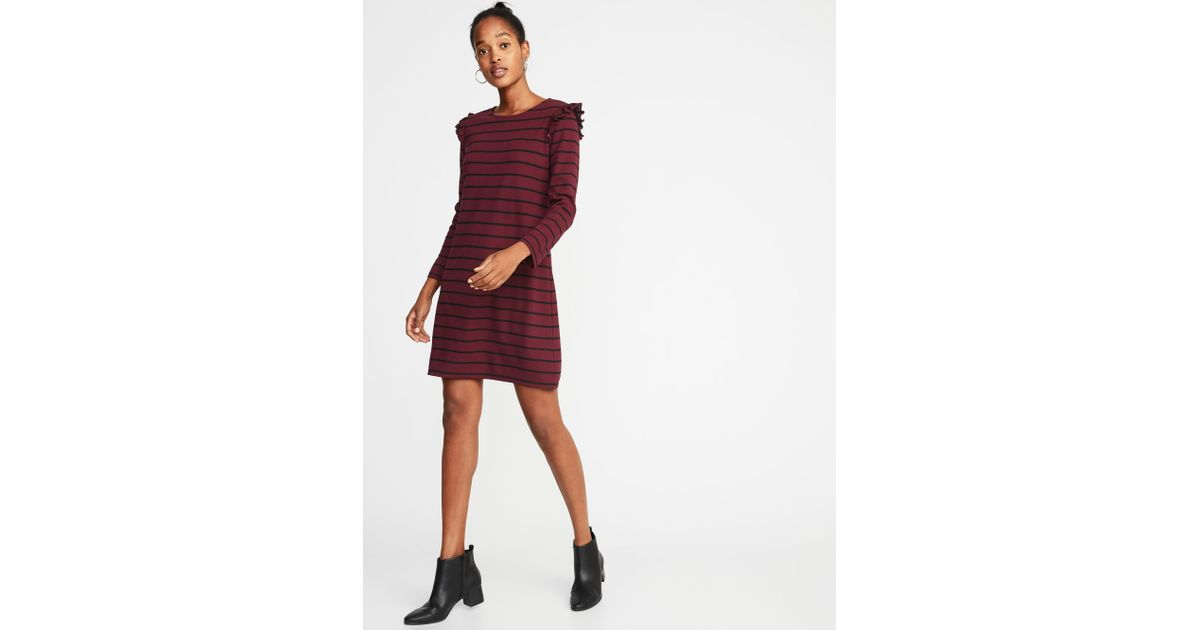 36ef1efb6138 Lyst - Old Navy Ruffle-trim Ponte-knit Shift Dress in Red