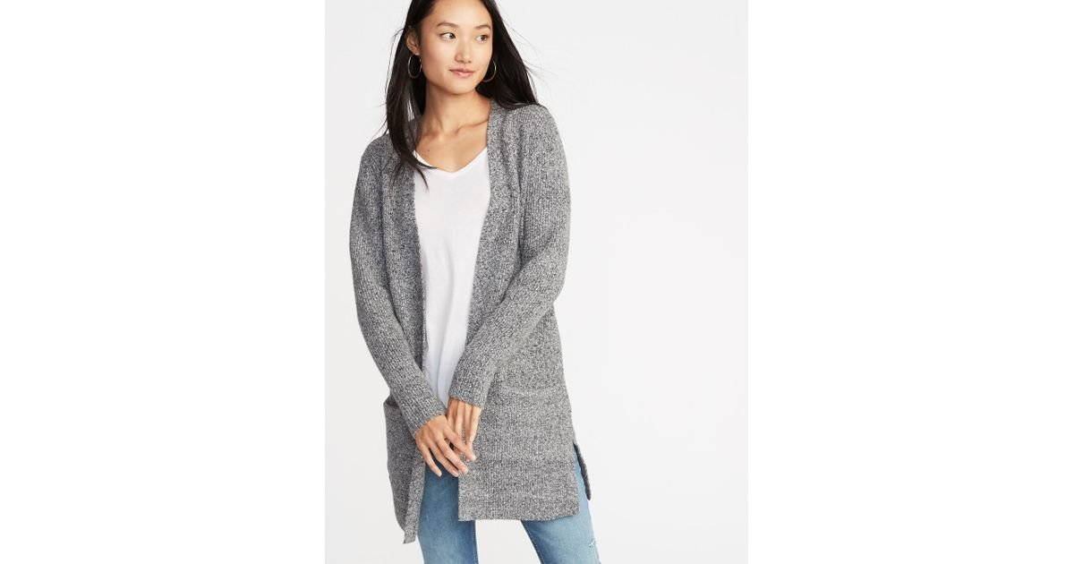 Old Navy Gray Long,line Shaker,stitch Open,front Sweater