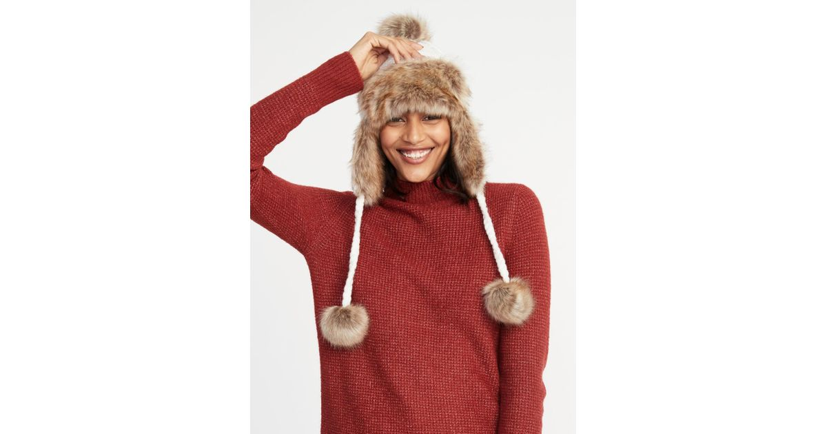 Lyst - Old Navy Cable-knit Pom-pom Trapper Hat in Red a6496dccb6cc