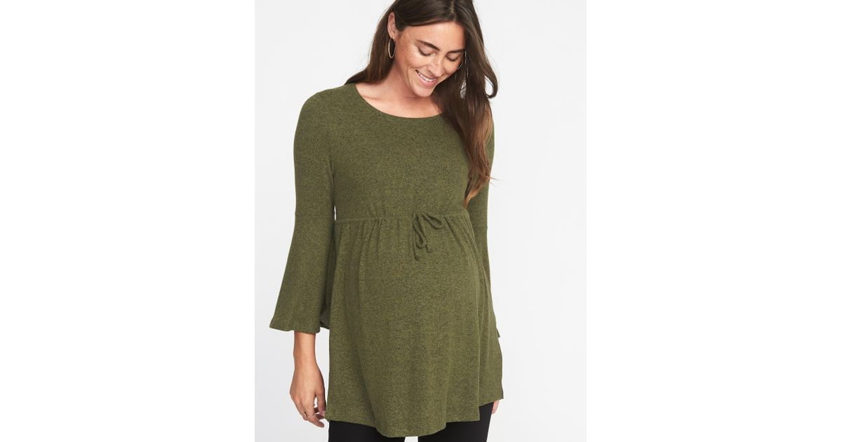 d97703e992d43 Old Navy Maternity Plush-knit Tie-waist Tunic in Green - Lyst