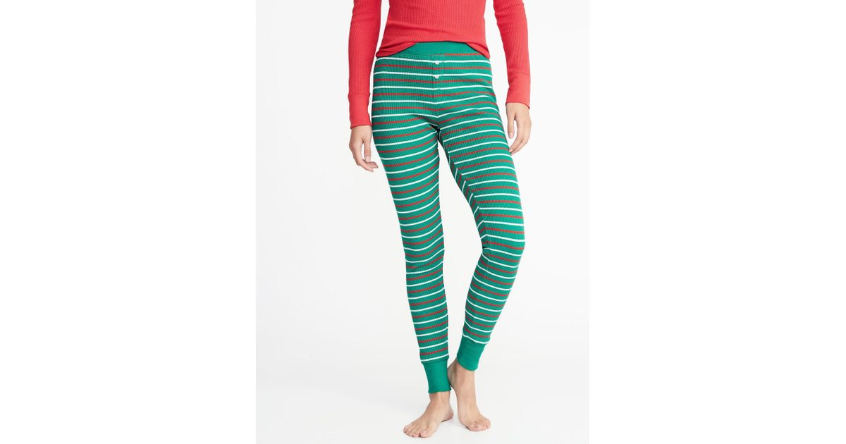 c5a679b4e5 Lyst - Old Navy Patterned Thermal-knit Sleep Leggings in Green