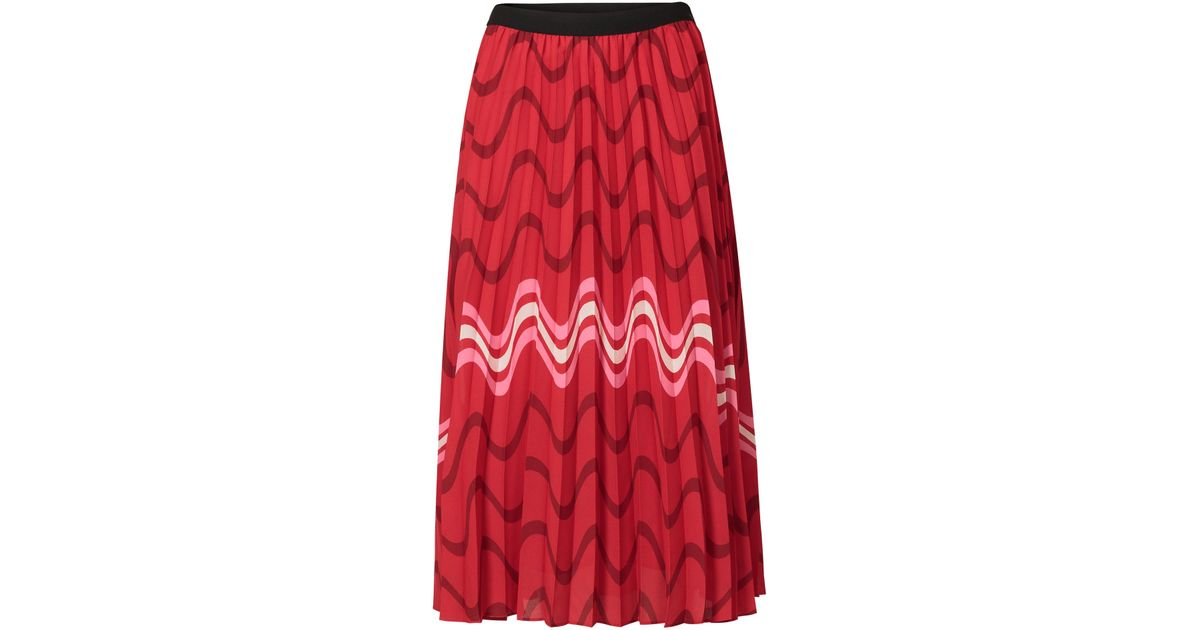 e3986e7500 Oliver Bonas Red & Pink Striped Print Pleated Skirt in Red - Lyst