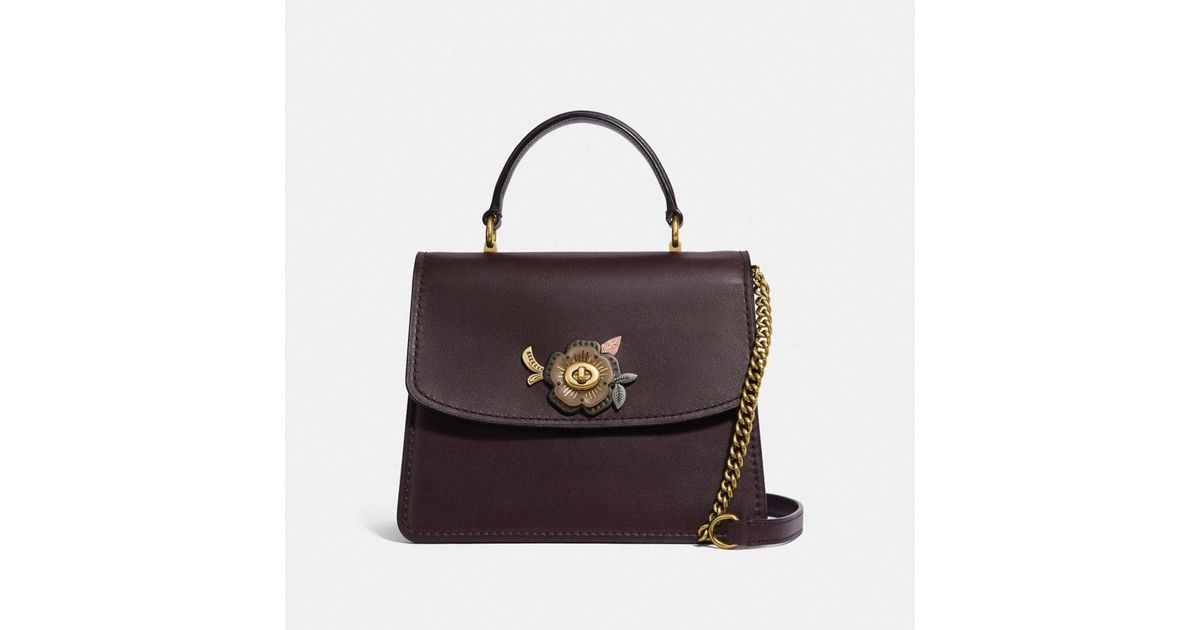 014a9cb25c03 Lyst - COACH Parker Top Handle With Tea Rose Stones