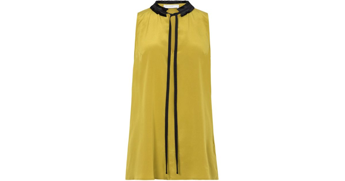 8bc96a84e6cbed Lyst - Amanda Wakeley Olive Green Crepe De Chine Sleeveless Top in Green