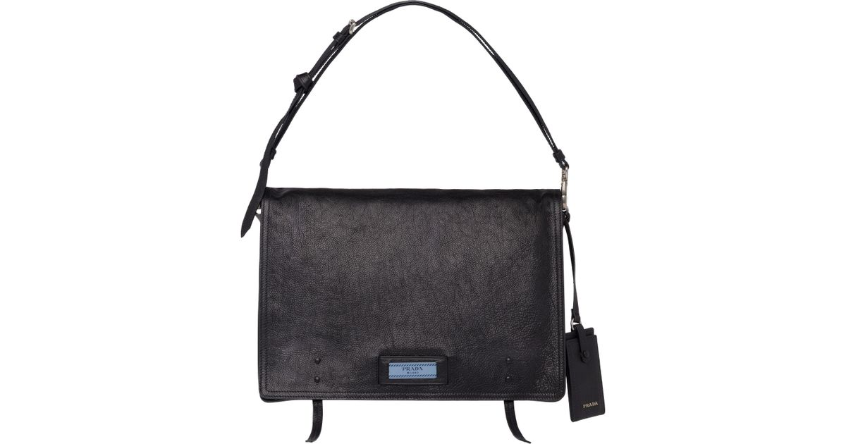 404134f2af5b Prada Etiquette Leather Shoulder Bag in Black - Lyst