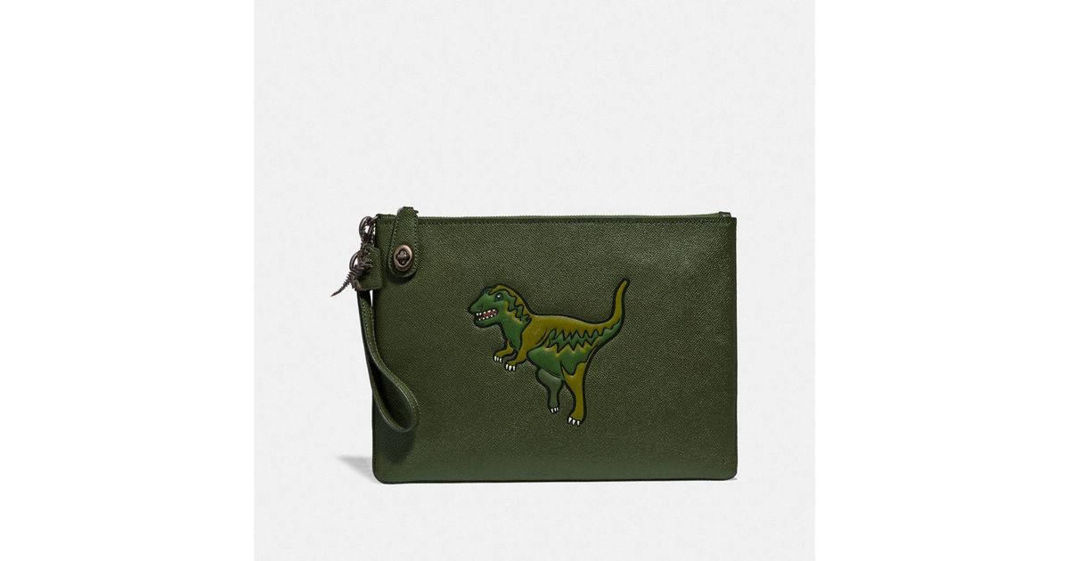 9fb5a49315 COACH - Green Turnlock Pouch With Rexy - Lyst