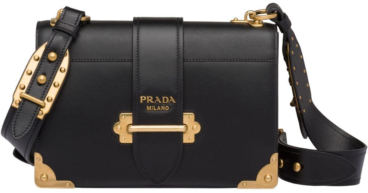 58f1bfa844028d Prada Cahier Large Leather Bag in Black - Save 20% - Lyst