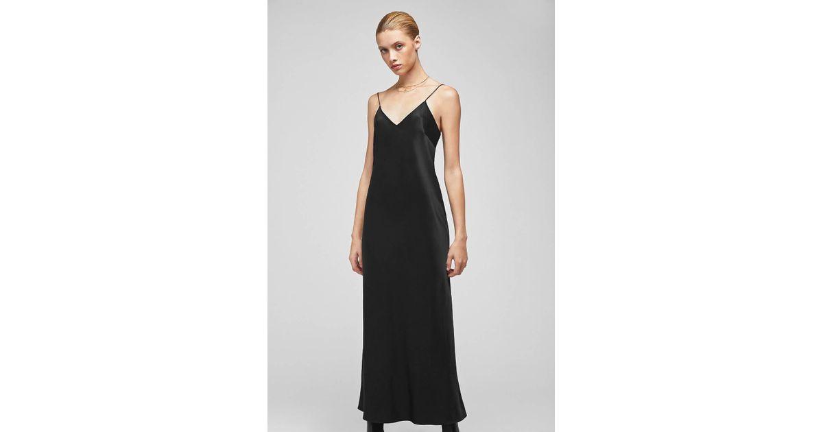 ef1d81a9a0c Anine Bing Rosemary Silk Slip Dress in Black - Lyst