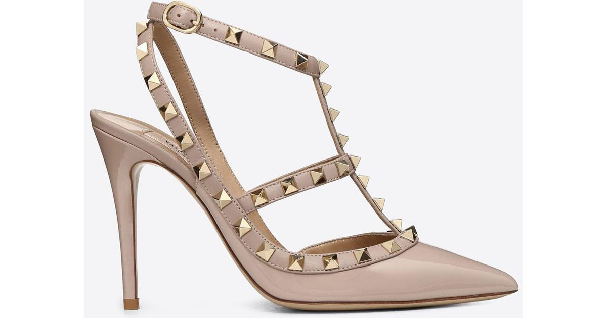 ec4c0a3c2746e Valentino Patent Rockstud Caged Pump 100mm in Pink - Lyst