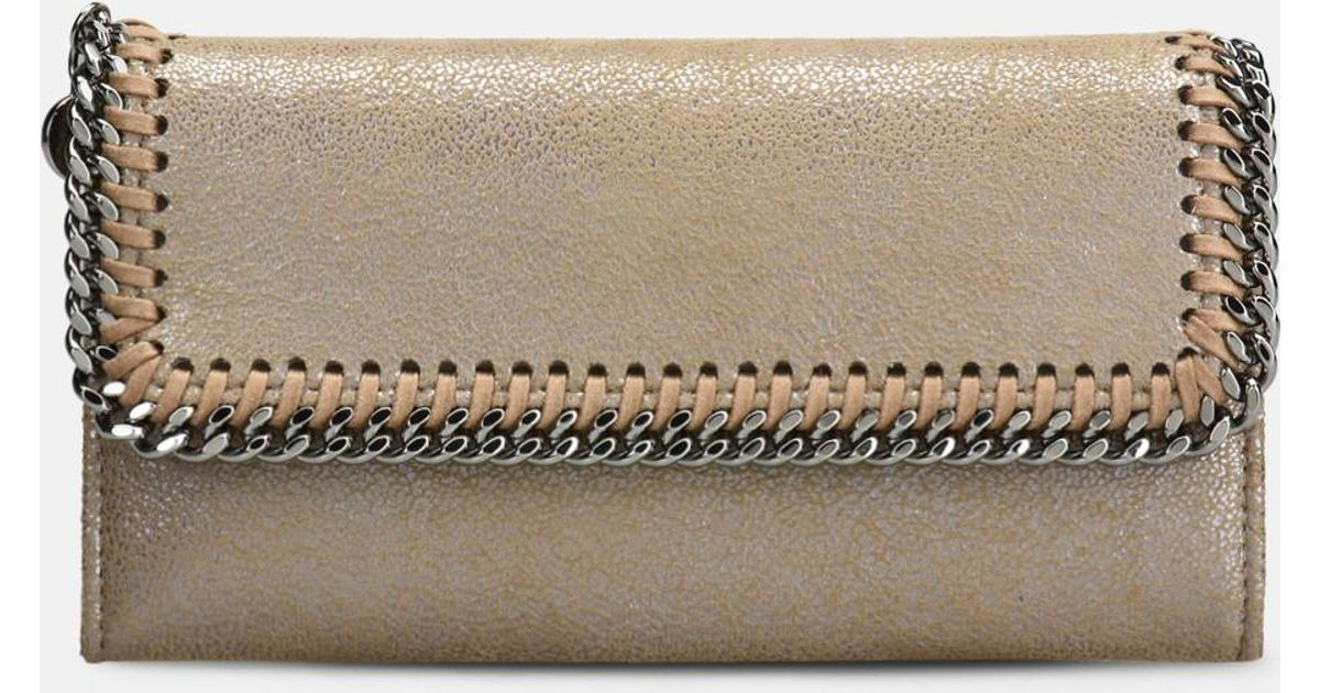 f4ac9e926b8b Lyst - Stella McCartney Redwood Falabella Shiny Dotted Chamois Flap Wallet