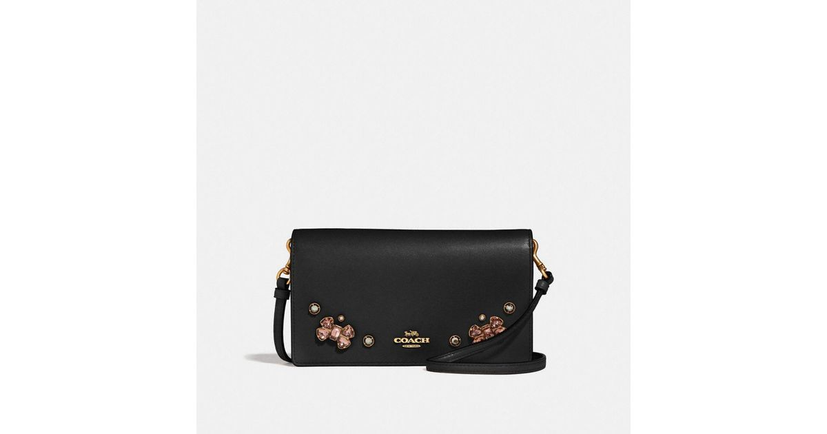 98a2a0f74e90 COACH Hayden Foldover Crossbody Clutch With Crystal Applique in Black - Lyst